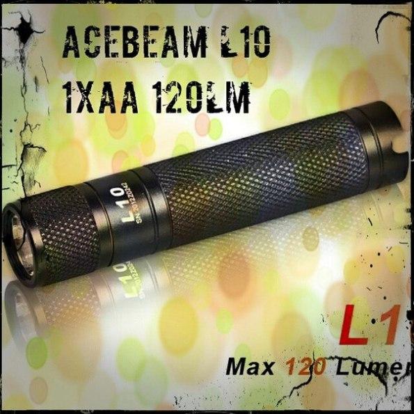 """Latarka AceBeam L10 120lm na 1xAA. 147 godzin świecenia! Niezwykłą cechą tej latarki jest tryb """"przetrwania"""" FireFly, który pozwala przez bardzo długi czas uzyskać minimalne ale wciąż użyteczne światło (147 godzin z baterii AA)."""